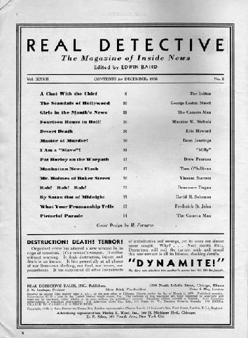 Real Detective December 1932 table of contents.